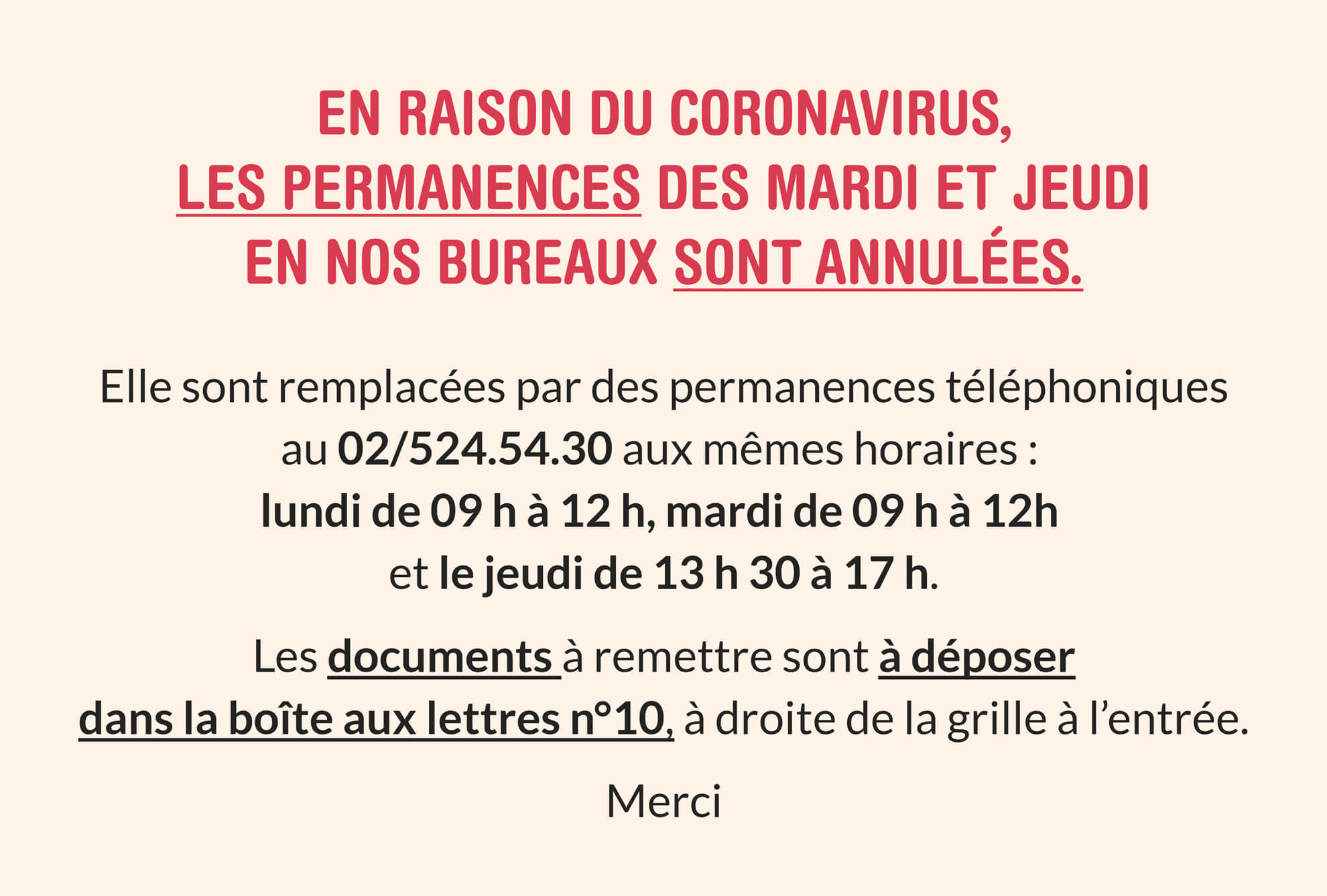 Permanences Coronavirus